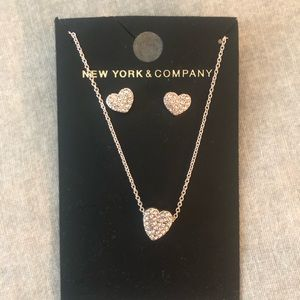 N.Y. & Co heart necklace and earring set
